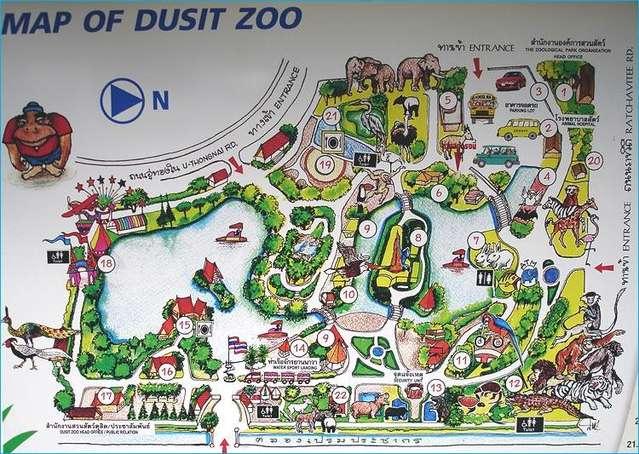 Карта зоопарка в Бангкоке.