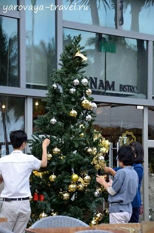 Повсюду вьетнамцы наряжают елки.