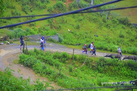 Туристы с гидом идут по маршруту.
