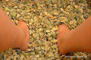 Держать ноги в теплых камнях очень приятно.