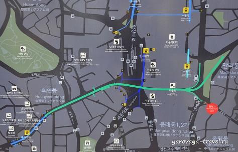 Seoullo 7017 - это зеленый отрезок на карте.