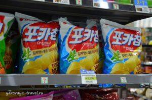 Картофельные чипсы 1500 вон (83 руб.).