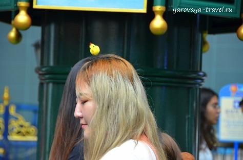 Девушка с цыпленком на голове)